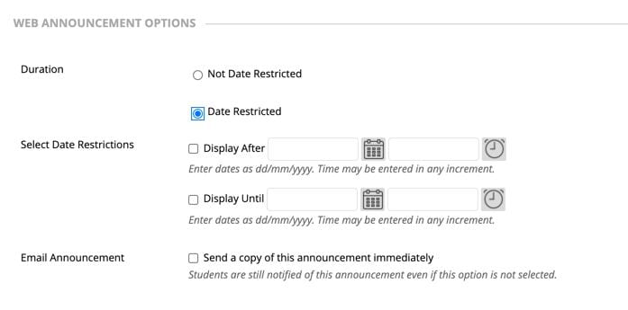 Set announcements to be date restricted