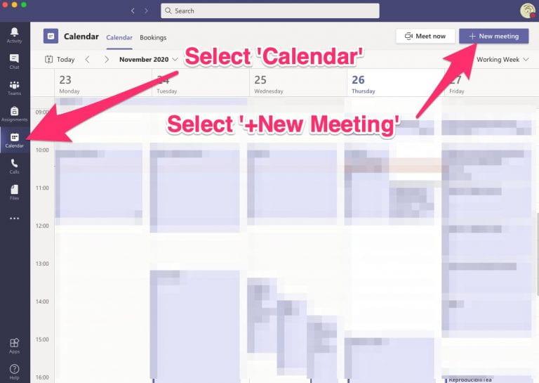 calendar new meeting
