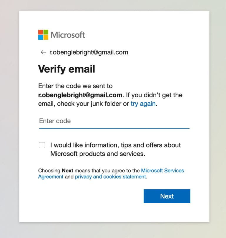 verify the email