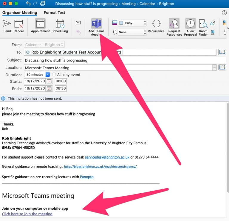 add teams meeting