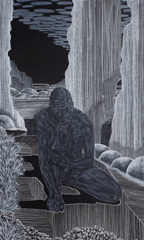 """Toyin Ojih Odutola """"Introductions: Early Embodiment"""" from """"A Countervailing Theory"""" 2019"""