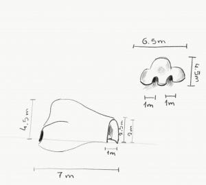 sketch of the nose with measurements.