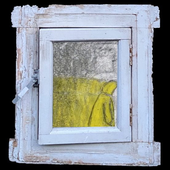 Still from animted film of drawn figure framed within a 3D sculpture of window
