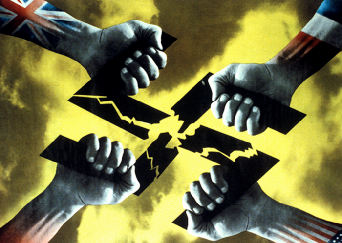 'Four Hands' (1944). A poster distributed in Europe after D-Day. Client: US Office of War Information. Catalogue number: FHK-4-1-9-1.