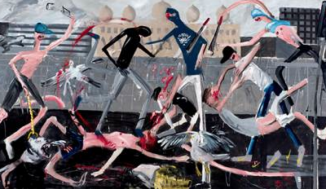 Dale Lewis, Eurovision, 2015, Oil, acrylic and spray paint on canvas, 200 x 400 cm