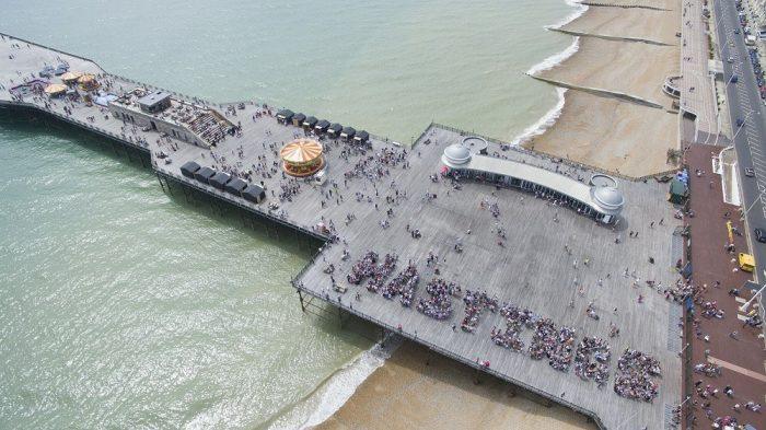 hastings pier from air