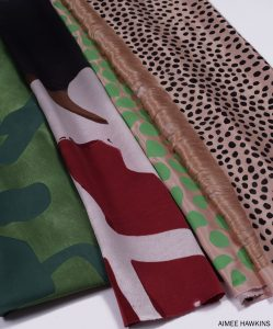Close up of textile designs