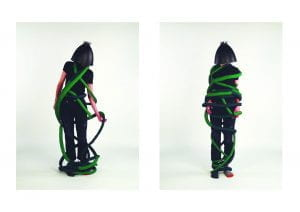 Figure wrapped up in green rope