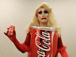Image of person in coke can fancy dress