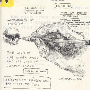 Hand drawing skull