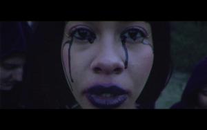 Woman crying black tears