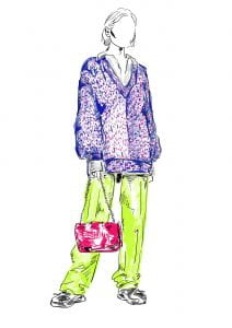 Drawing of purple coat and neon green trousers