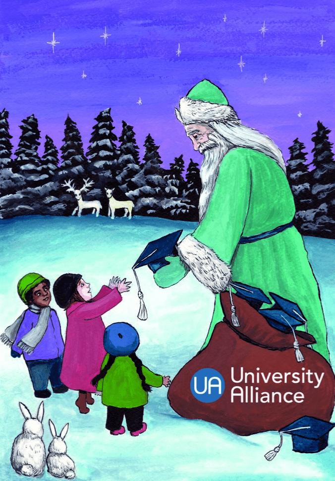 Christmas card design by Illustration student Hannah