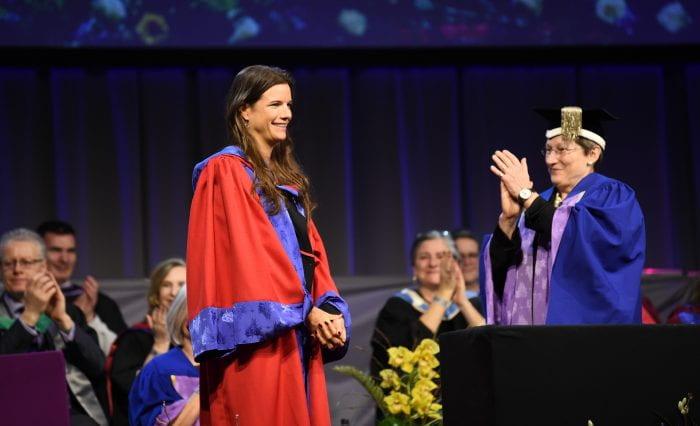 Emily Brooke receiving Honorary Doctorate