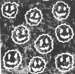 Illustration of a tray of smiley potato bites