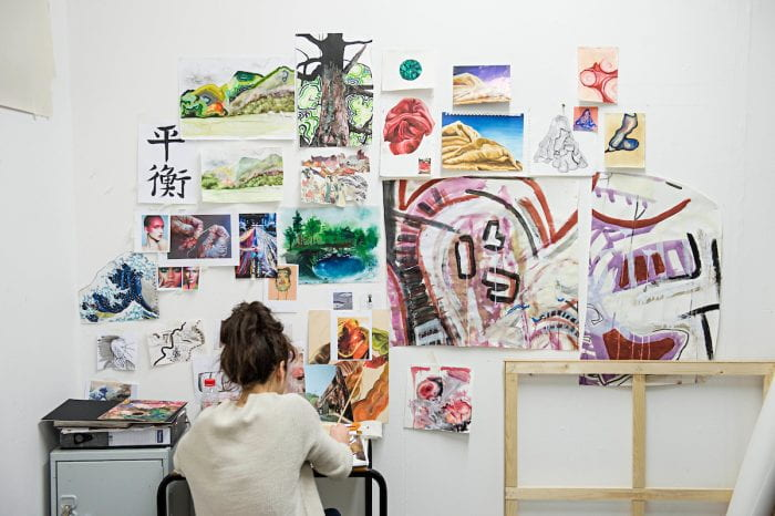 student in studio