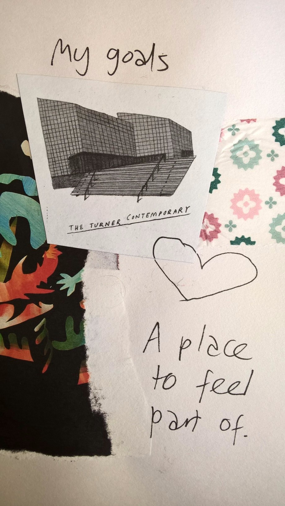 "Collage showing an illustration of Turner Contemporary Margate, a heart and text reading ""My goals"" and ""A place to feel part of"""