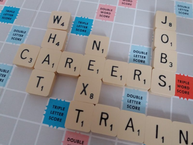 Careers words on a Scrabble board