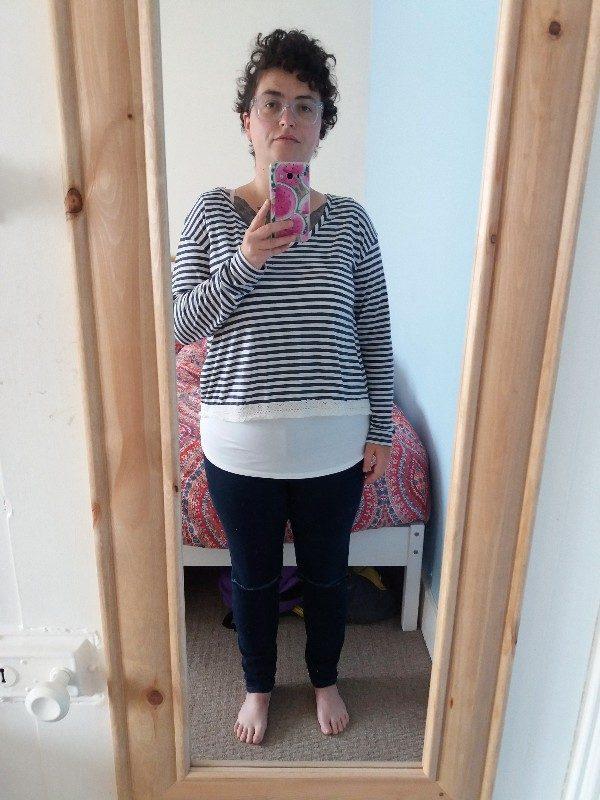 WIWT: Black Eyewear spectacles; Poof top, George vest and old (Primark) jeans