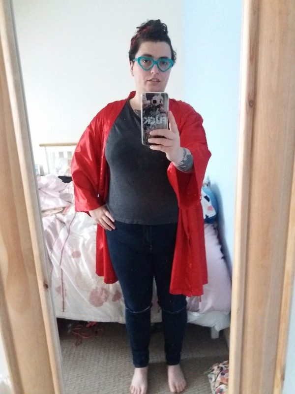 WIWT: Black Eyewear spectacles; Claires headband, Lovehoney robe, Indigo at Marks and Spencers top (thrfted), Primark jeans (old)