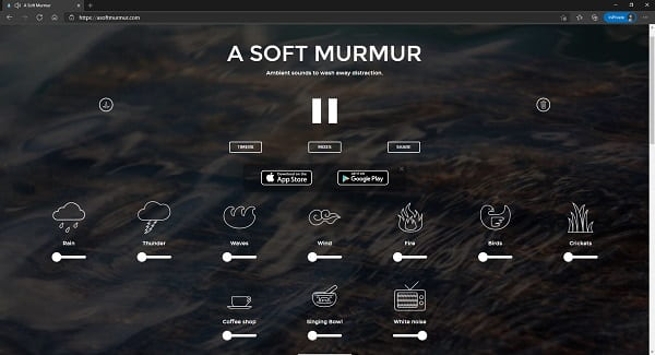 a screenshot of asoftmurmur.com with white noise at 100%