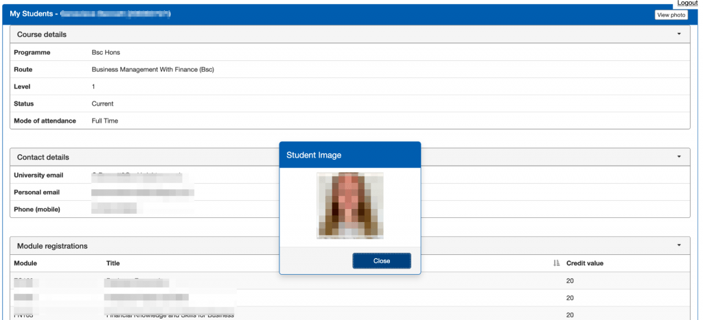 Screenshot of student details page in SITS e:Vision Student Lookup