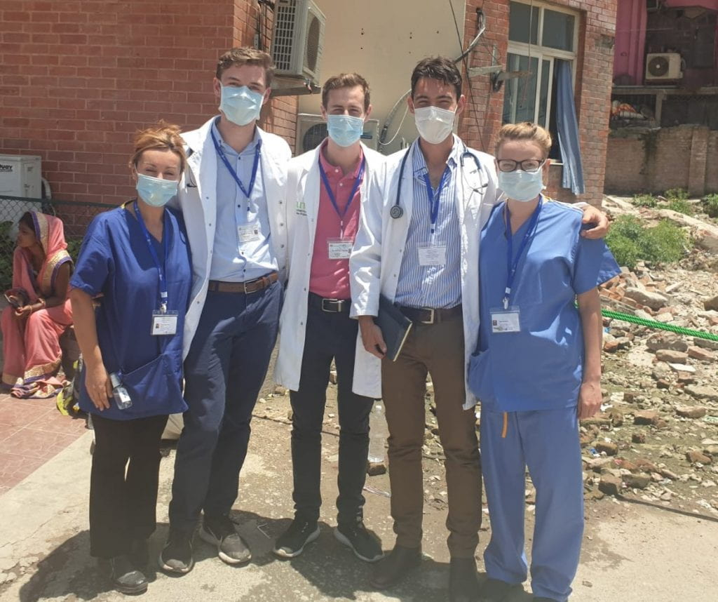Abi Woodhams with colleagues in Nepal