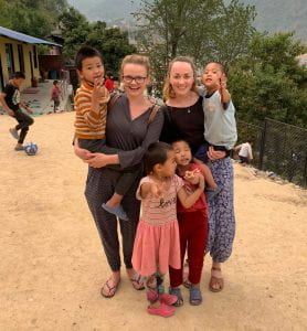 Abi with nursing colleague and children orphaned in Nepals 2015 earthquake