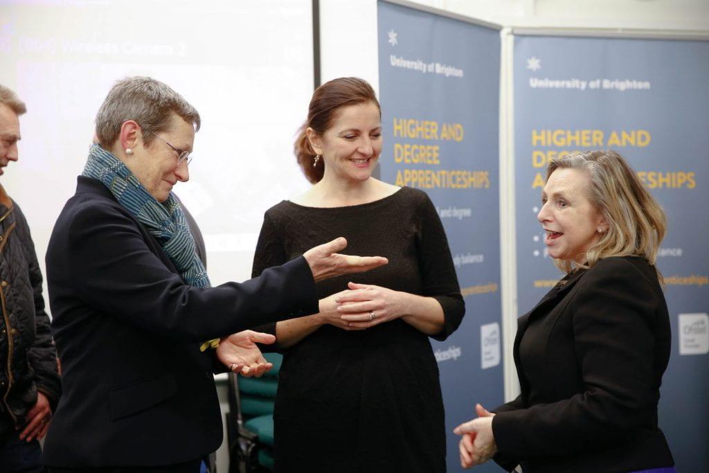 Vice Chancellor Professor Debra Humphris MP Caroline Ansell and Viki Faulkner