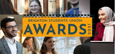 montahe of people with Brighton Students' Union awards 2021 overlaid