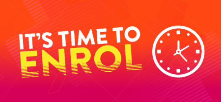 graphic saying time to enrol