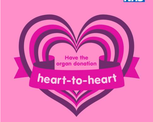 Pink graphic saying heart to heart