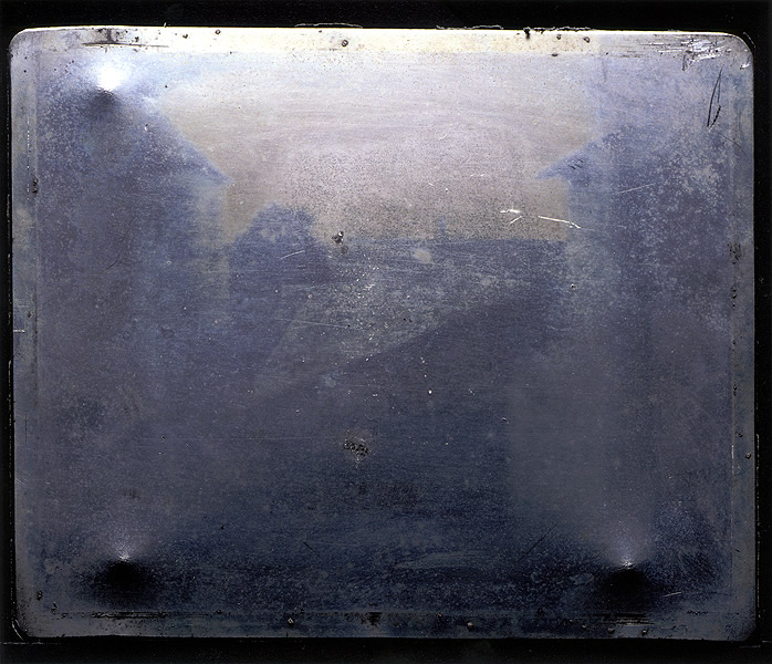 Joseph Nicephore Niepce created the first transmission of an image onto a fixed medium (copper plate) using a camera obscura and a chemical which reacted to light and dark.