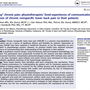 """Selling"" chronic pain: physiotherapists' lived experiences of communicating the diagnosis of chronic nonspecific lower back pain to their patients"