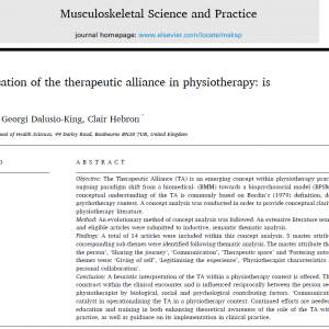 Conceptualisation of the therapeutic alliance in physiotherapy: is it adequate?