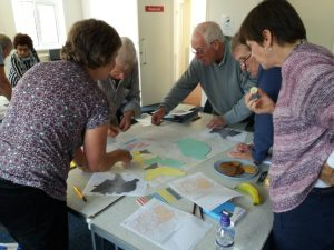 Group of people working on coloured papers and maps