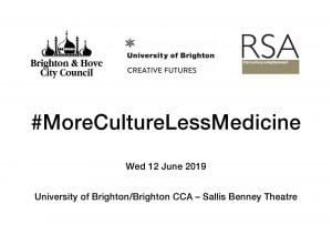 Poster for More Culture Less Medicine event