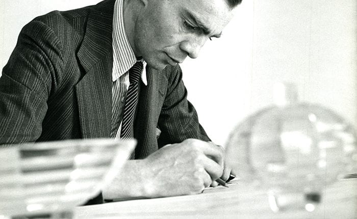 Black and white portrait of Robert Goodden drawing