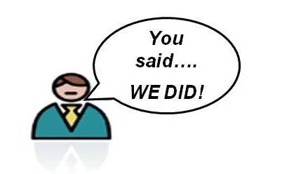 you said we did