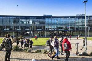 students walking around the Falmer campus