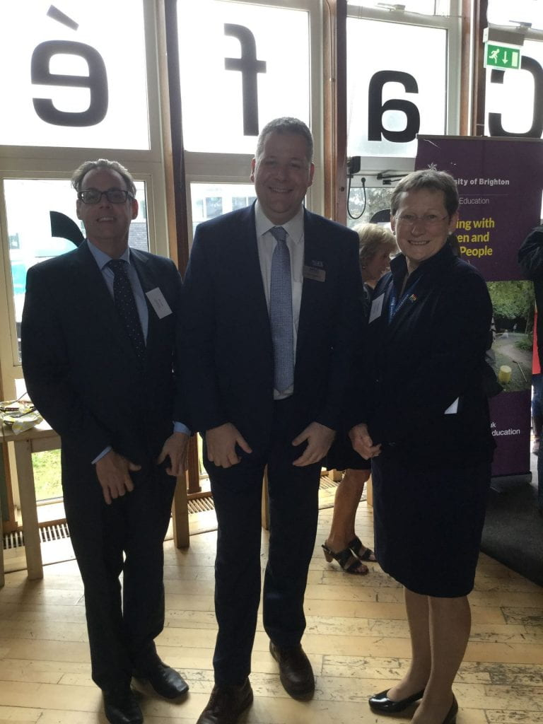 Leigh Middleton, centre, with John Smith, Head of School of Education and Debra Humphris VC
