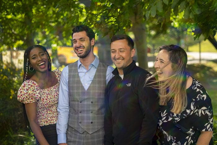 A smiling Nrighton Students' Union Officer Team