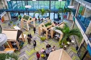 A view from above of the Checkland building atrium