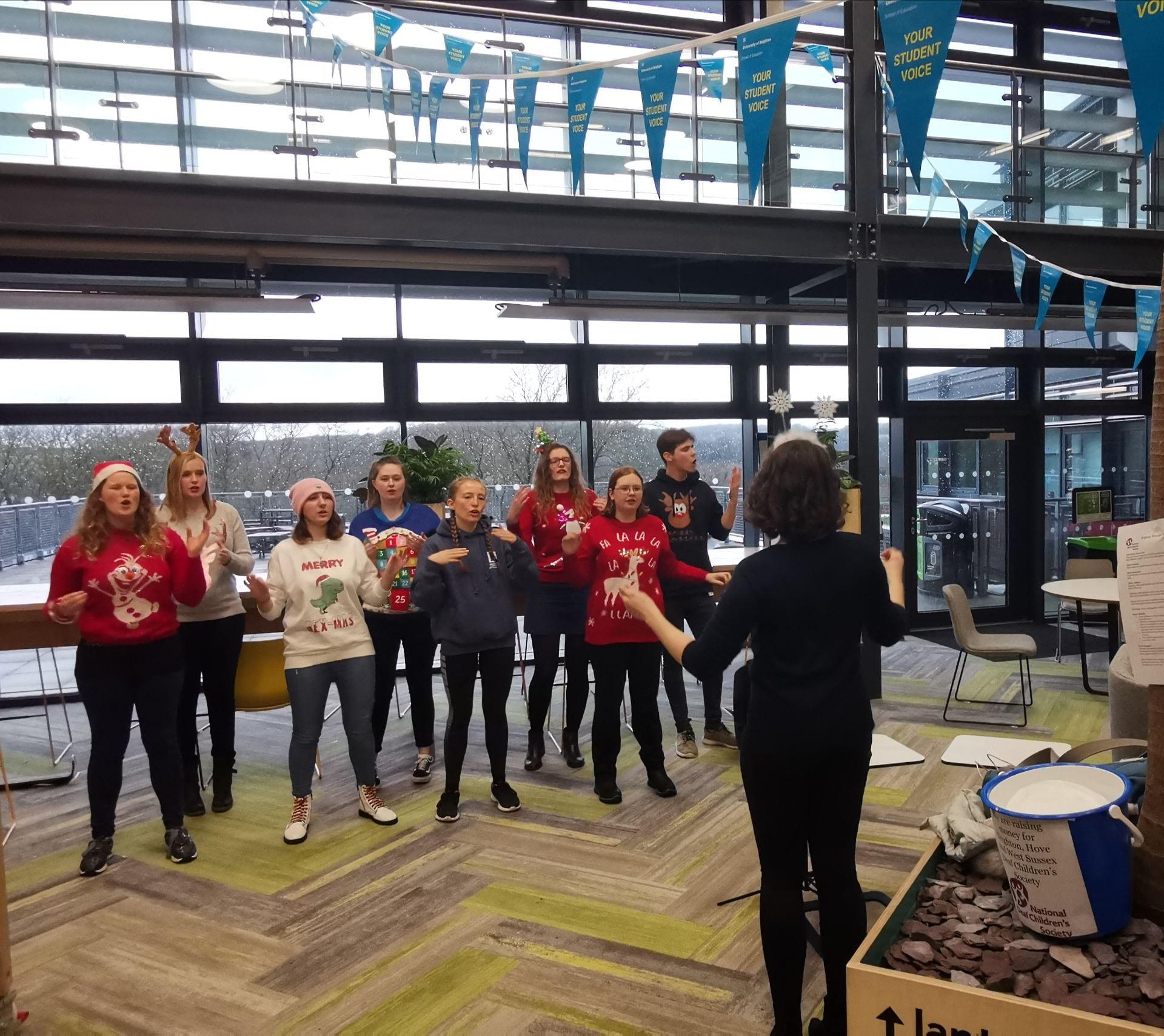 British Sign Langauge society performing carols