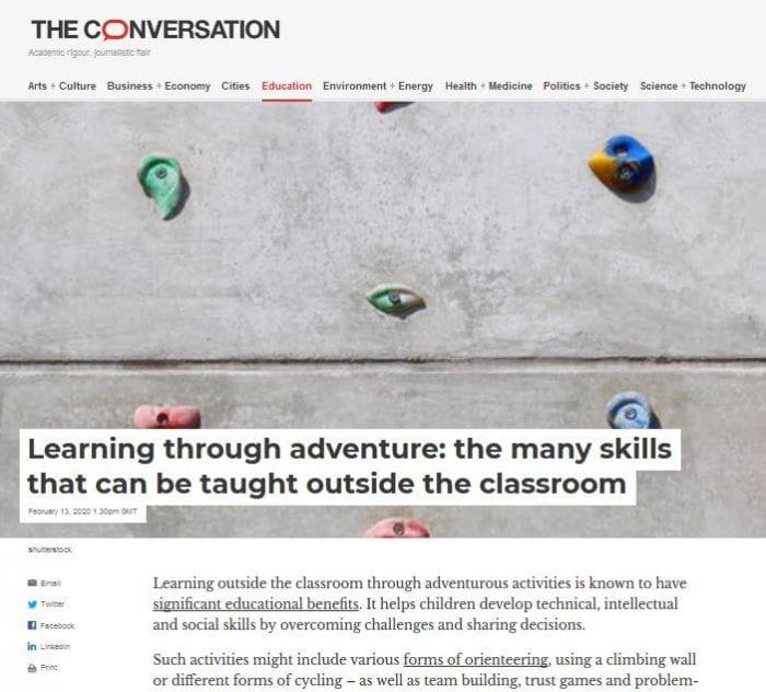 screen shot of The Conversation website