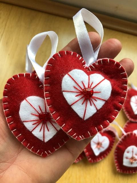 an image of Pippa's red and white felt hearts