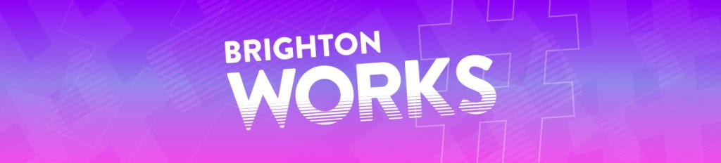 Brighton Works wording on a purple background