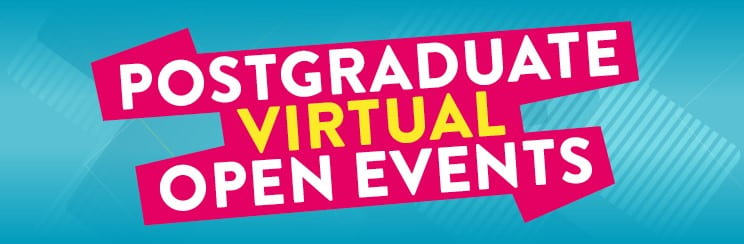 graphic saying Postgraduate Virtual Open Events at Brighton