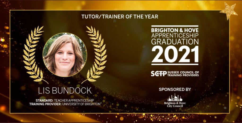 Awards ceremony slide congratulating Lis Bundock