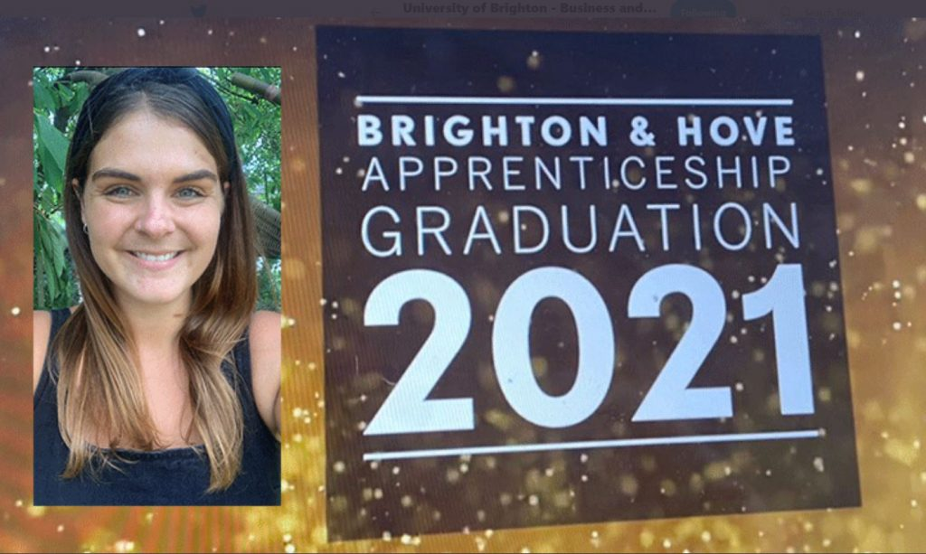 Awards ceremony slide congratulating Rachel Gumbrill